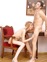 Right after getting her sweet cunt licked, passionate chick rides big dick of naughty pal.