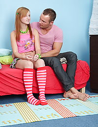 Pretty teen babe wearing stripped knee high socks gets her tight wet twat pounded hard.